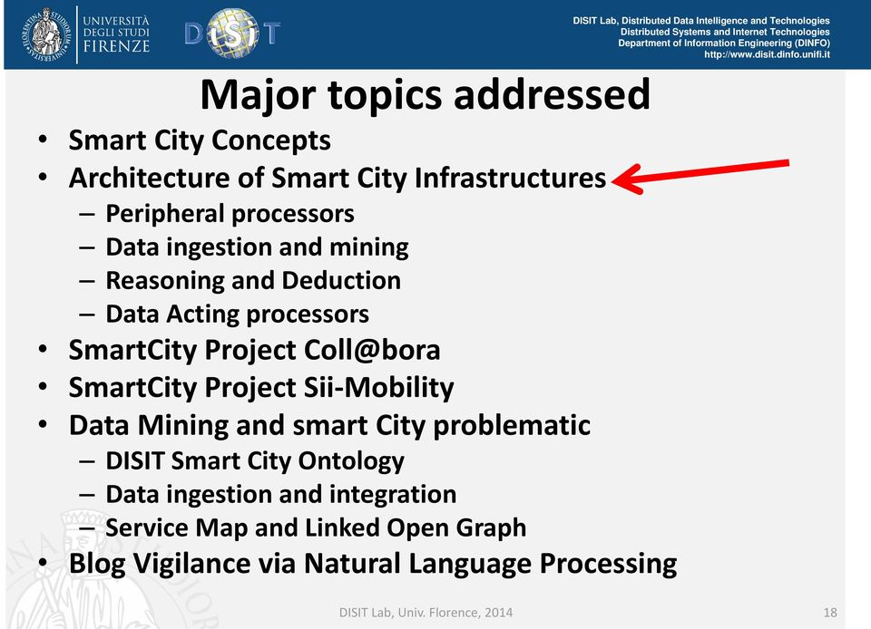 Project Sii Mobility Data Mining and smart City problematic DISIT Smart City Ontology Data ingestion and