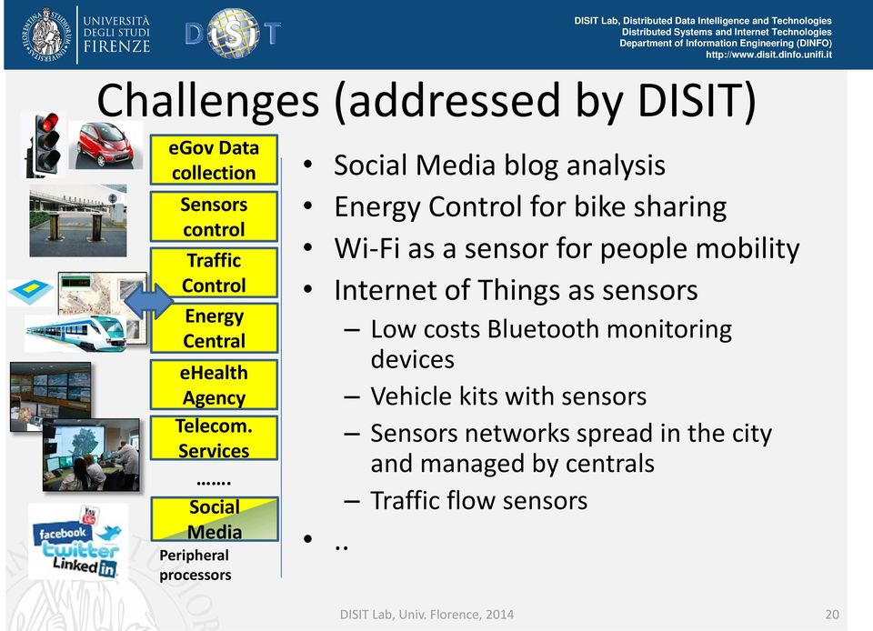 Social Media Peripheral processors Social Media blog analysis Energy Control for bike sharing Wi Fi as a sensor for