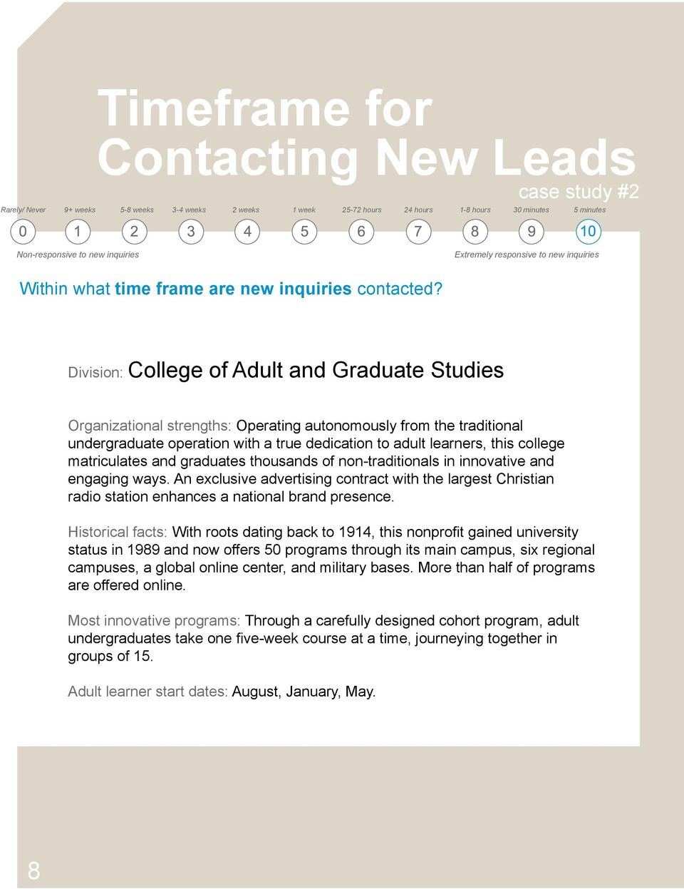 Division: College of Adult and Graduate Studies Organizational strengths: Operating autonomously from the traditional undergraduate operation with a true dedication to adult learners, this college