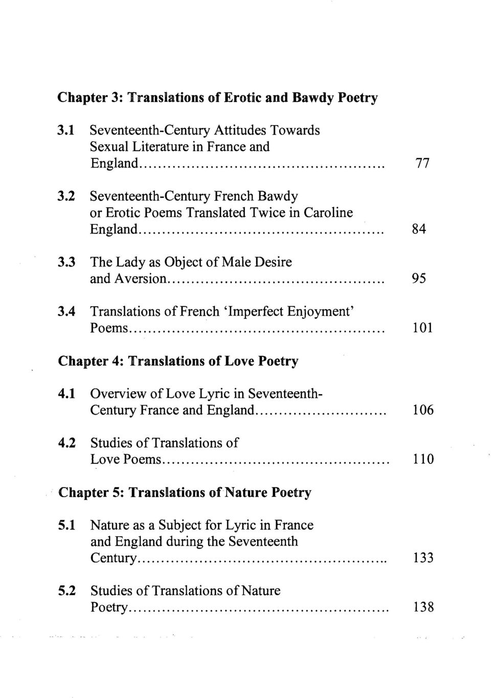 4 Translations of French 'Imperfect Enjoyment' Poems... 101 Chapter 4: Translations of Love Poetry 4.1 Overview of Love Lyric in Seventeenth- Century France and England... 106 4.