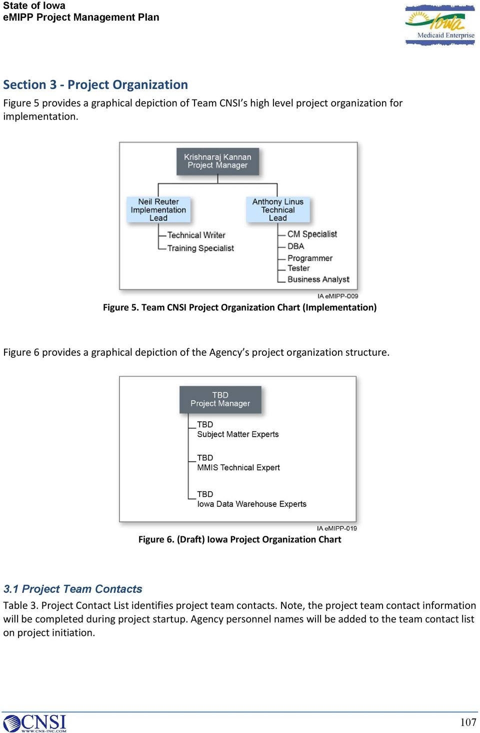 Team CNSI Project Organization Chart (Implementation) Figure 6 provides a graphical depiction of the Agency s project organization structure. Figure 6. (Draft) Iowa Project Organization Chart 3.