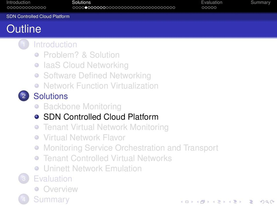 Solutions Backbone Monitoring SDN Controlled Cloud Platform Tenant Virtual Network Monitoring Virtual