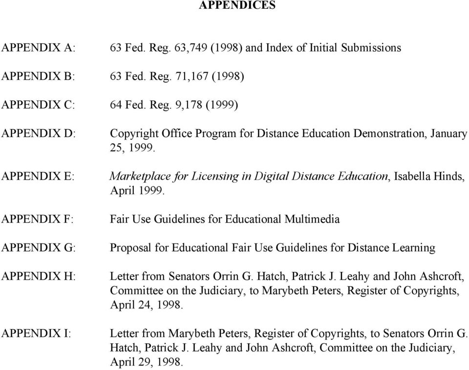 Fair Use Guidelines for Educational Multimedia Proposal for Educational Fair Use Guidelines for Distance Learning Letter from Senators Orrin G. Hatch, Patrick J.