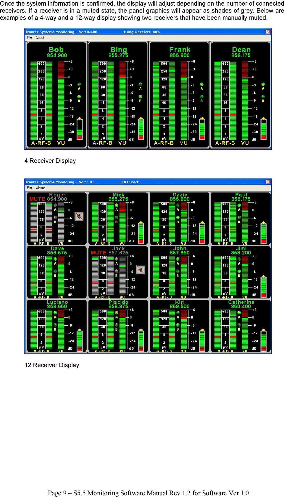 Below are examples of a 4-way and a 12-way display showing two receivers that have been manually muted.