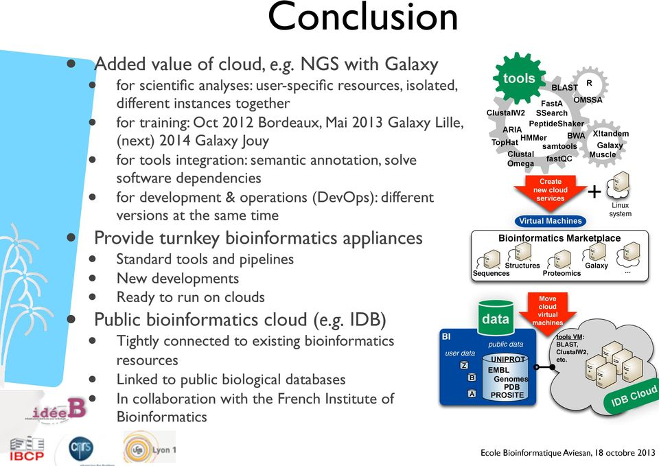 integration: semantic annotation, solve software dependencies for development & operations (DevOps): different versions at the same time Provide turnkey bioinformatics appliances Standard tools and