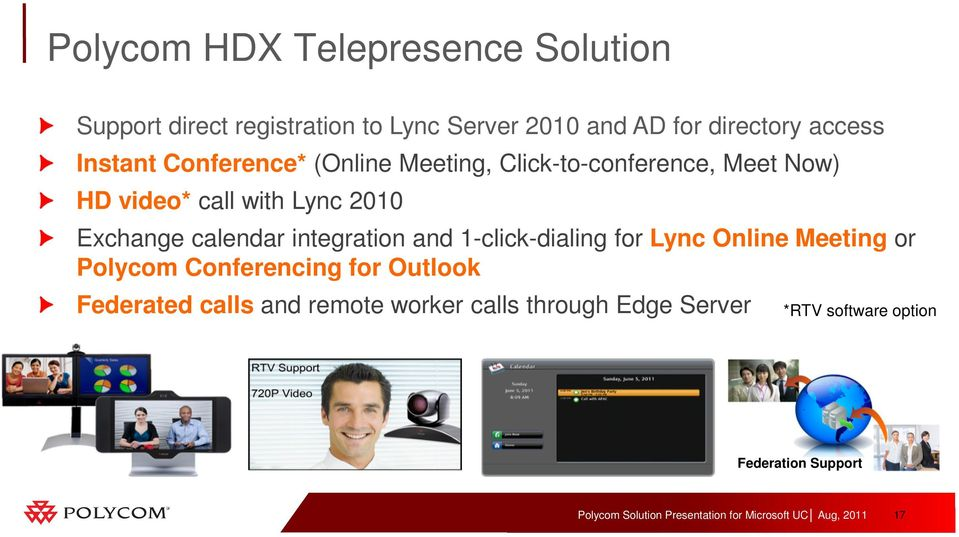 Exchange calendar integration and 1-click-dialing for Lync Online Meeting or Polycom Conferencing for