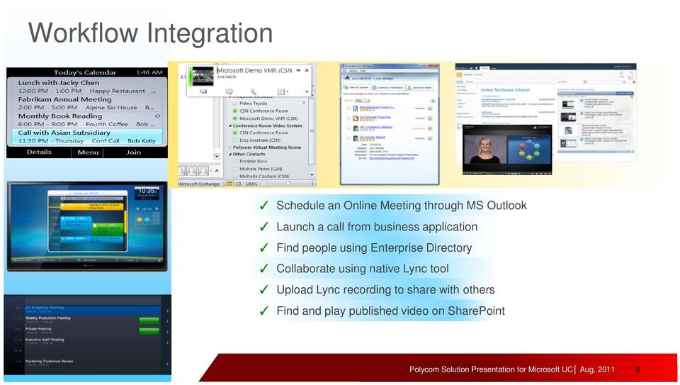 Enterprise Directory Collaborate using native Lync tool Upload Lync