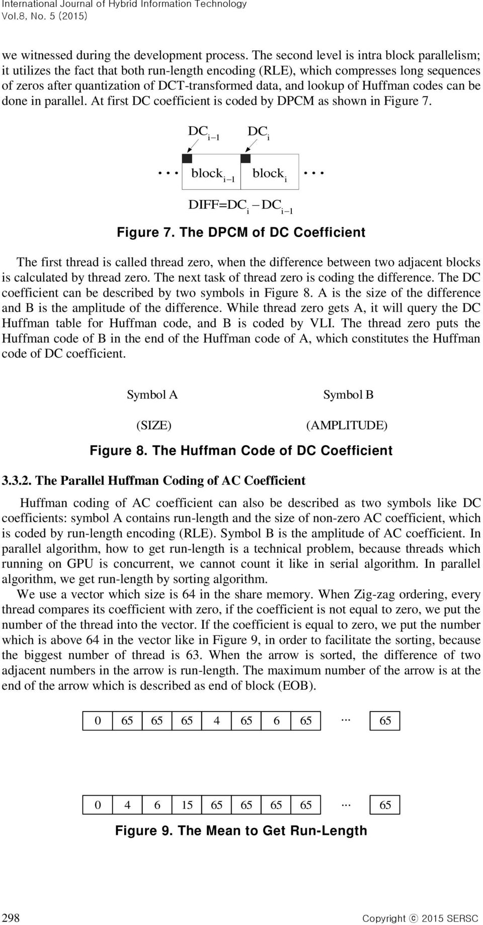 of Huffman codes can be done in parallel. At first DC coefficient is coded by DPCM as shown in Figure 7. DC i 1 DC i... block i block... 1 i DIFF=DC DC i i1 Figure 7.