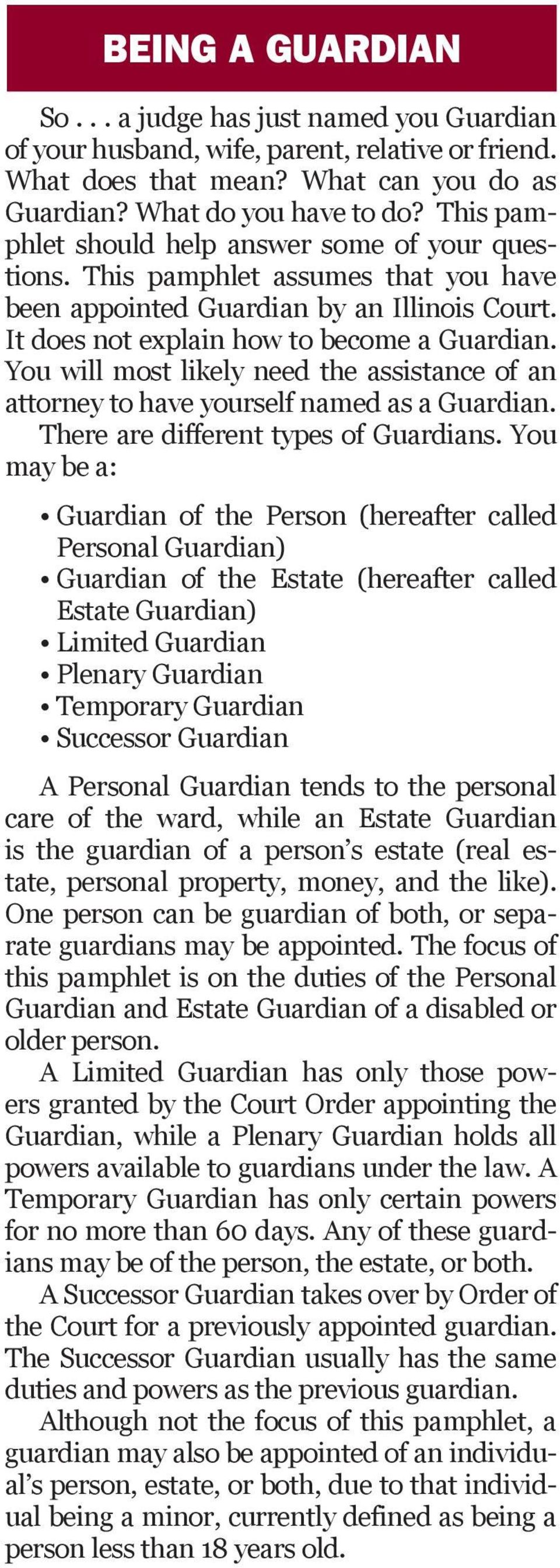 You will most likely need the assistance of an attorney to have yourself named as a Guardian. There are different types of Guardians.