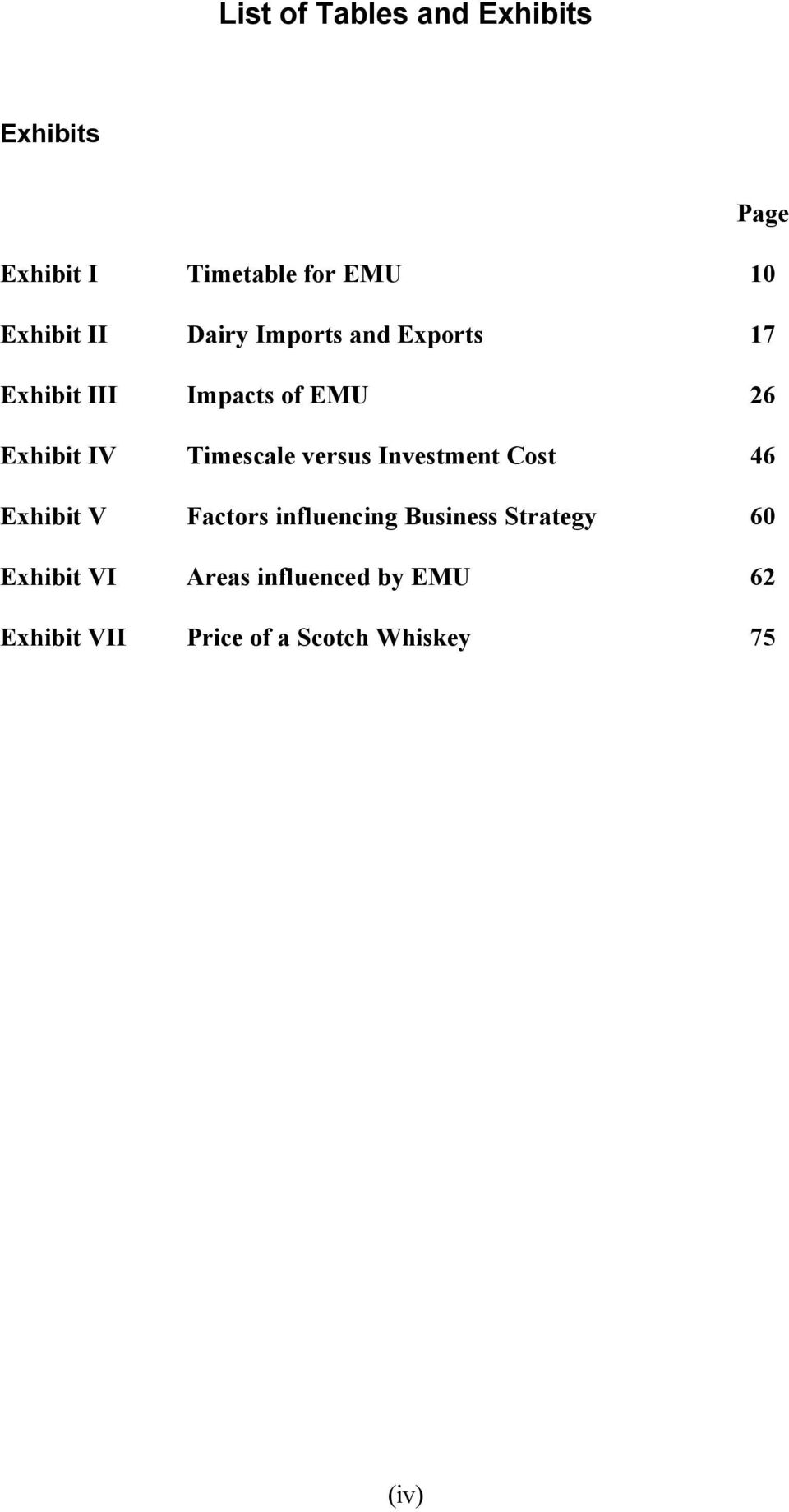 Timescale versus Investment Cost 46 Exhibit V Factors influencing Business