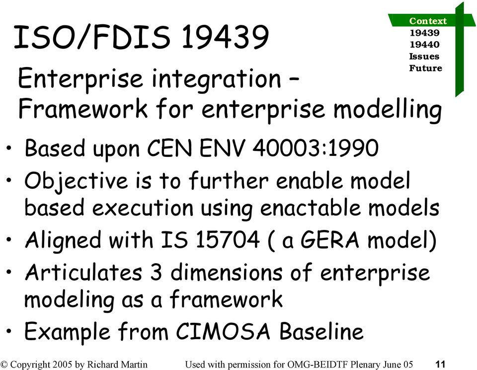 ( a GERA model) Articulates 3 dimensions of enterprise modeling as a framework Example from