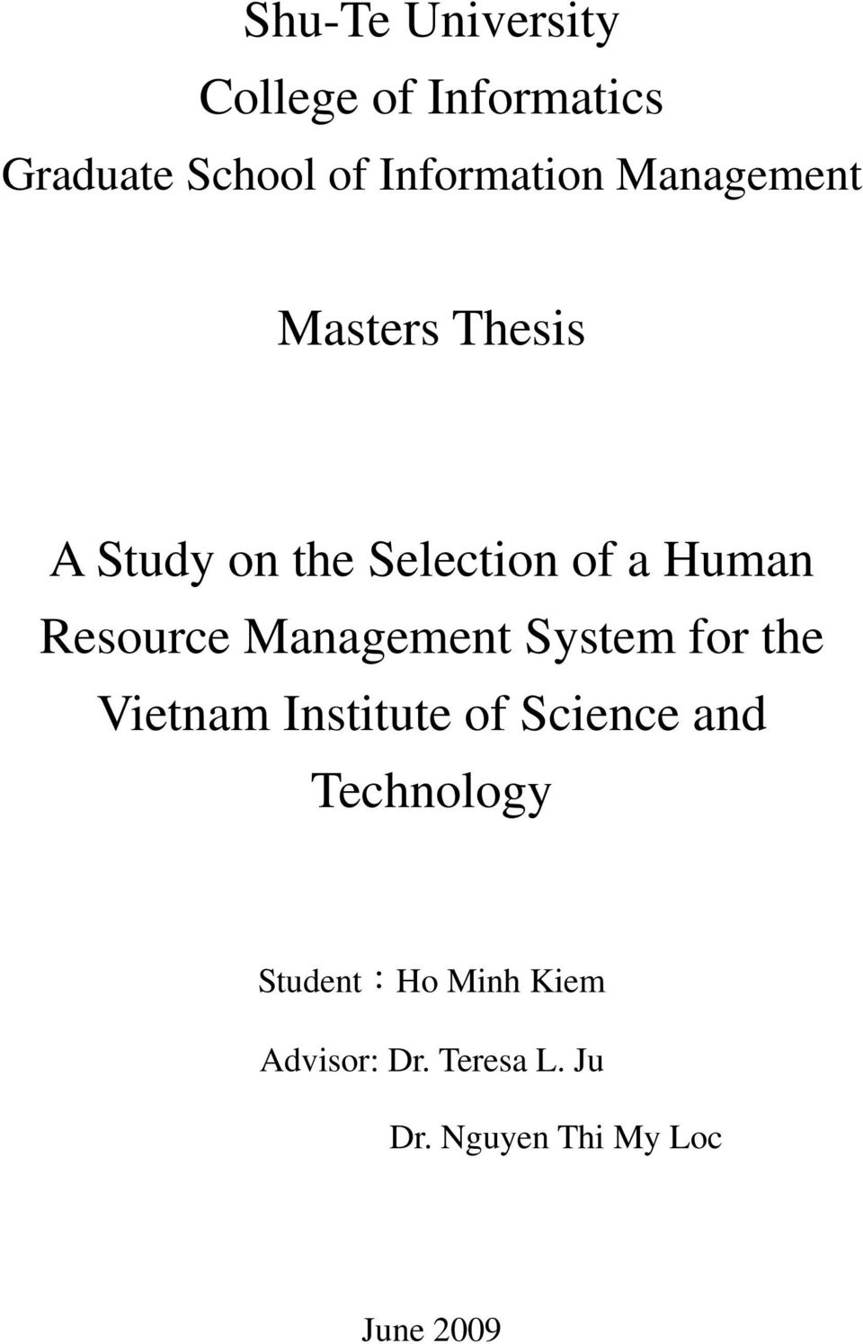 Management System for the Vietnam Institute of Science and Technology