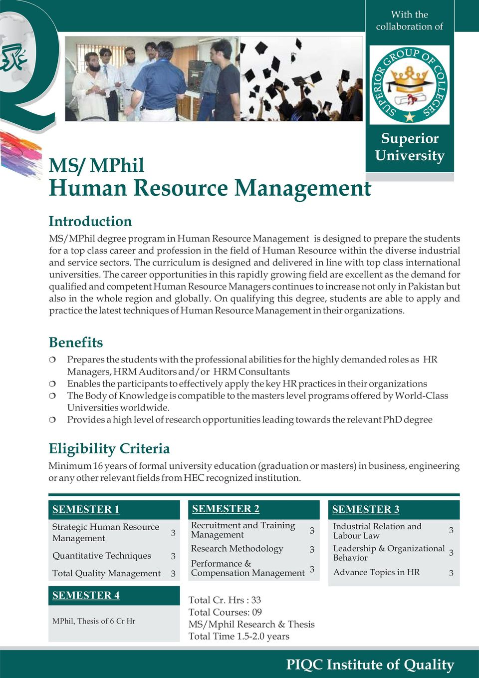 The career opportunities in this rapidly growing field are excellent as the demand for qualified and competent Human Resource Managers continues to increase not only in Pakistan but also in the whole