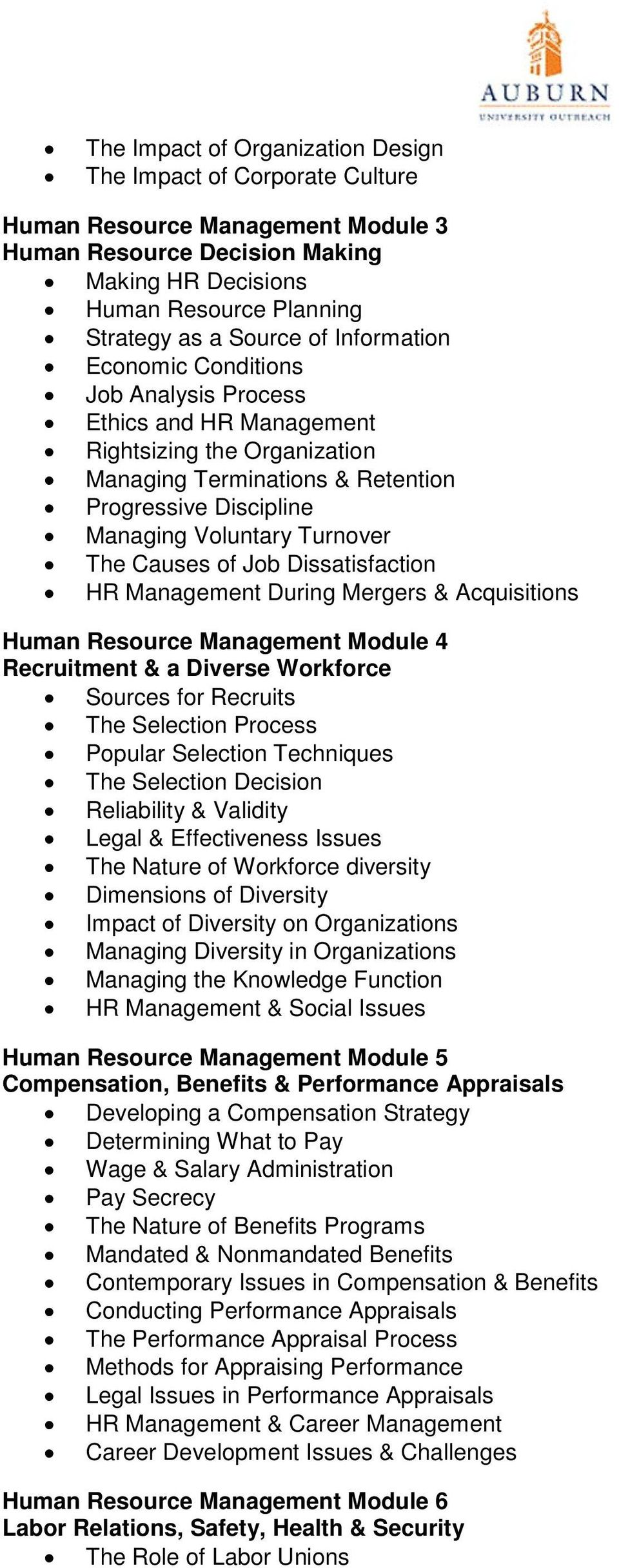 Causes of Job Dissatisfaction HR Management During Mergers & Acquisitions Human Resource Management Module 4 Recruitment & a Diverse Workforce Sources for Recruits The Selection Process Popular