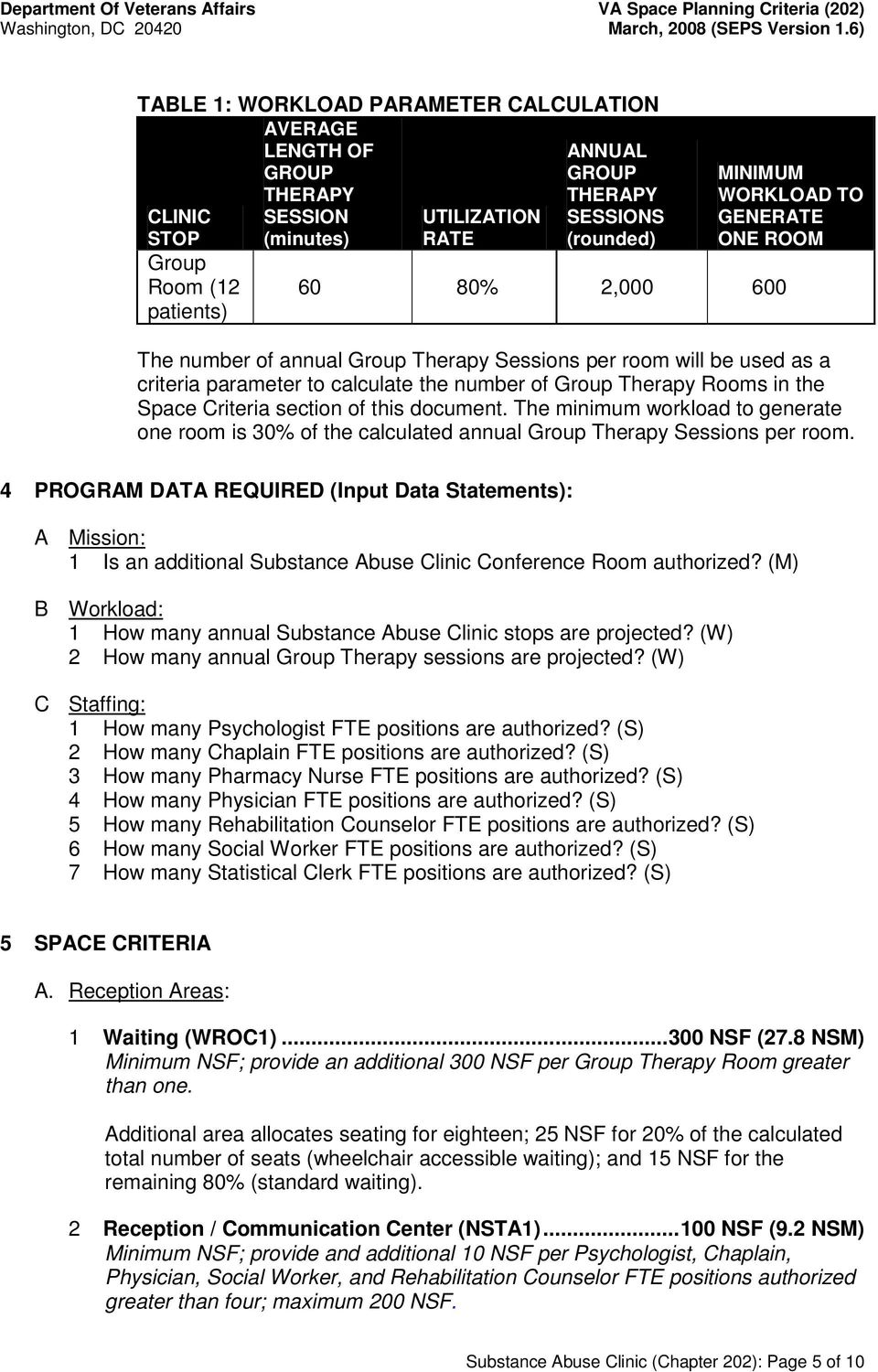 Criteria section of this document. The minimum workload to generate one room is 30% of the calculated annual Group Therapy Sessions per room.