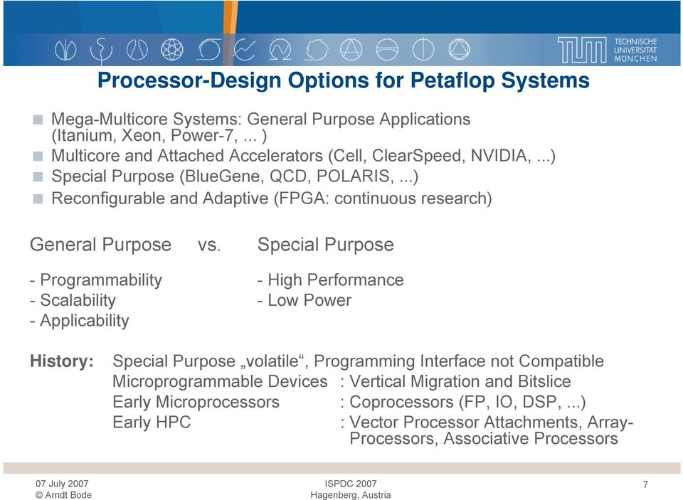 ..) Reconfigurable and Adaptive (FPGA: continuous research) General Purpose vs.