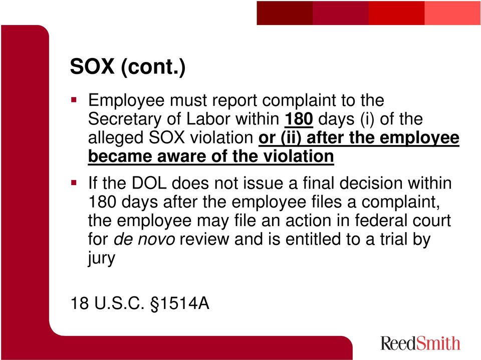 violation or (ii) after the employee became aware of the violation If the DOL does not issue a