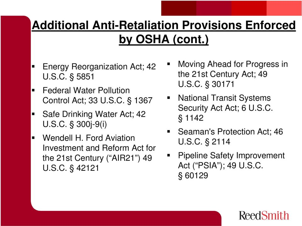 Ford Aviation Investment and Reform Act for the 21st Century ( AIR21 ) 49 U.S.C. 42121 Moving Ahead for Progress in the 21st Century Act; 49 U.