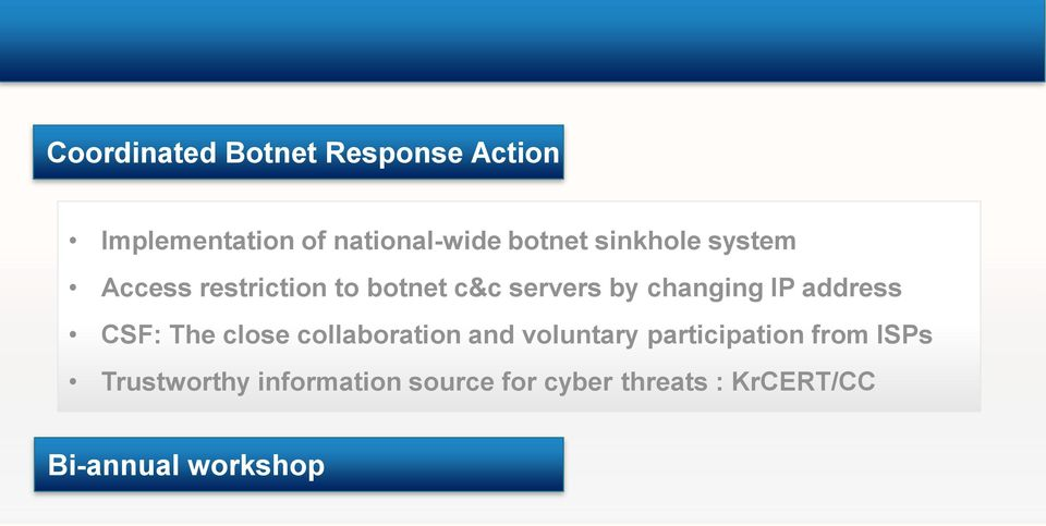 participation from ISPs Trustworthy information source for cyber threats : KrCERT/CC Bi-annual workshop Face-to-face trust building