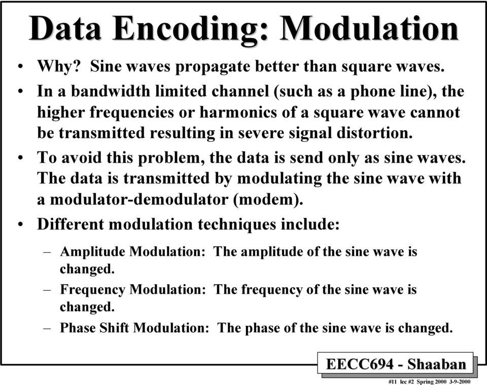 distortion. To avoid this problem, the data is send only as sine waves. The data is transmitted by modulating the sine wave with a modulator-demodulator (modem).