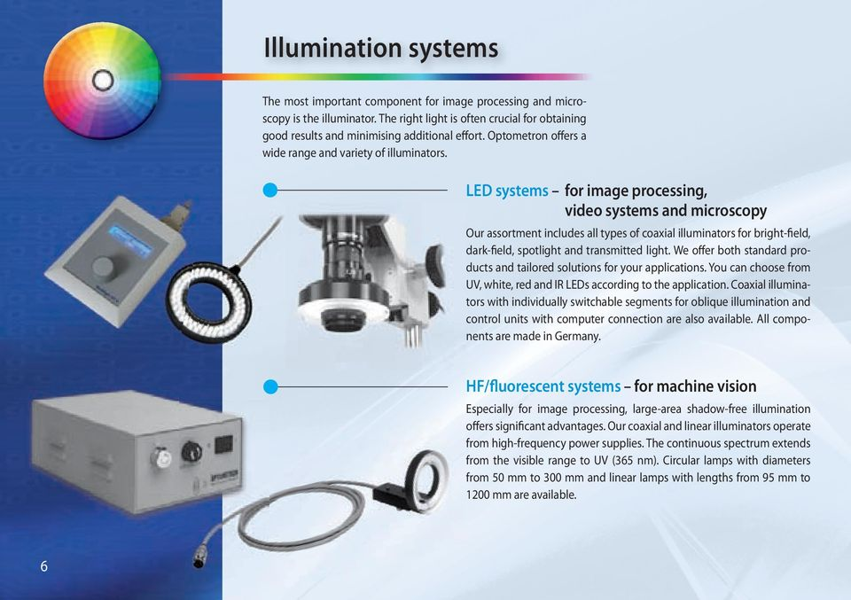 LED systems for image processing, video systems and microscopy Our assortment includes all types of coaxial illuminators for bright-field, dark-field, spotlight and transmitted light.