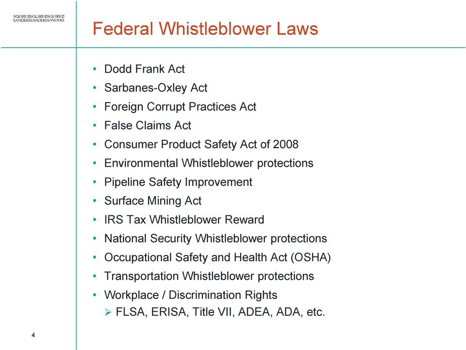 Mining Act IRS Tax Whistleblower Reward National Security Whistleblower protections Occupational Safety and Health
