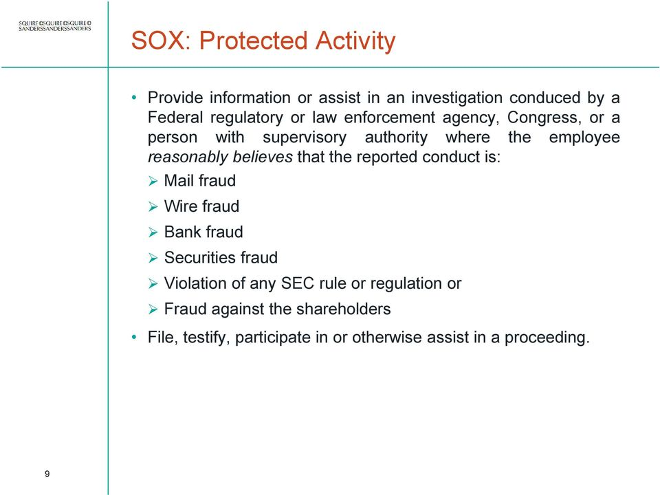 believes that the reported conduct is: Mail fraud Wire fraud Bank fraud Securities fraud Violation of any SEC
