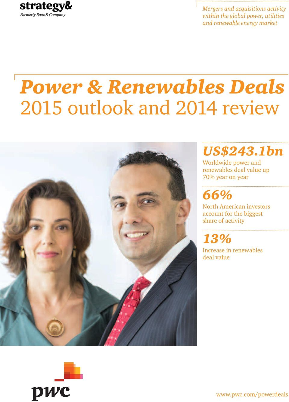 1bn Worldwide power and renewables deal value up 70% year on year 66% North American