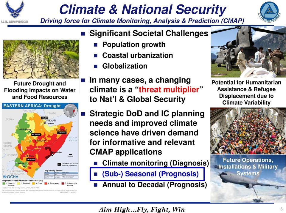 planning needs and improved climate science have driven demand for informative and relevant CMAP applications Climate monitoring (Diagnosis) (Sub-) Seasonal (Prognosis) Annual to