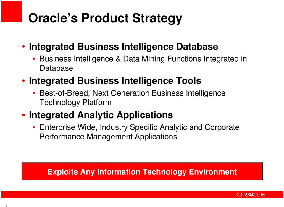 Business Intelligence Technology Platform Integrated Analytic Applications Enterprise Wide, Industry