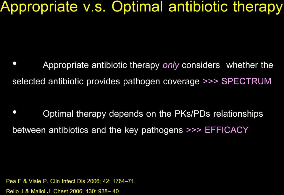 selected antibiotic provides pathogen coverage >>> SPECTRUM Optimal therapy depends on the