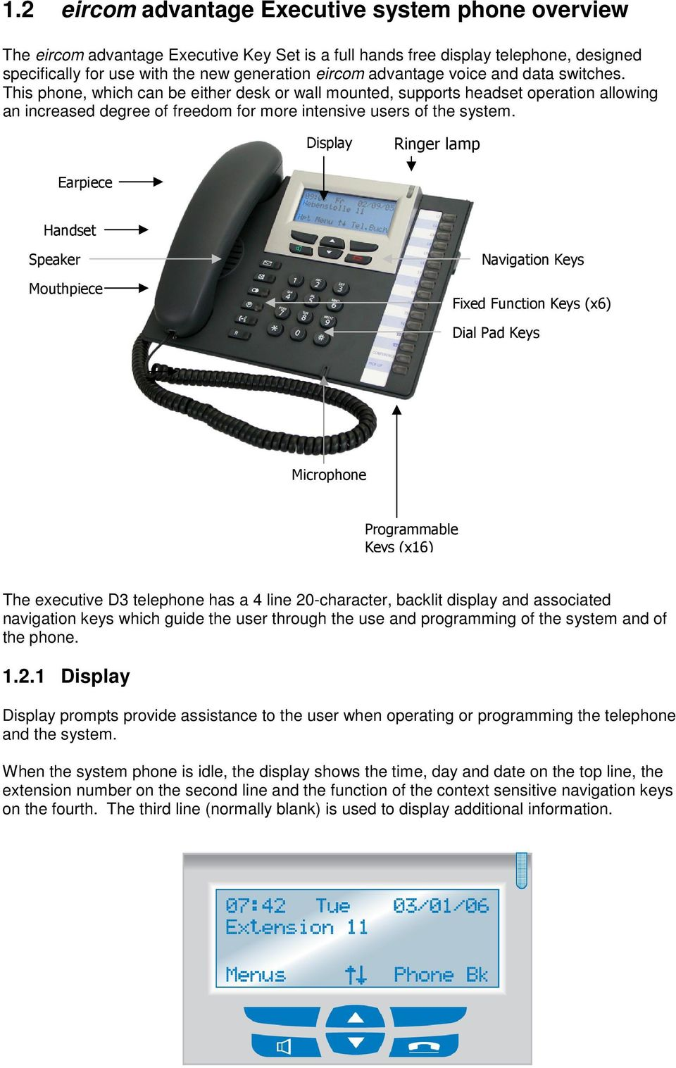 Display Ringer lamp Earpiece Handset Speaker Mouthpiece Navigation Keys Fixed Function Keys (x6) Dial Pad Keys Microphone Programmable Keys (x16) The executive D3 telephone has a 4 line 20-character,