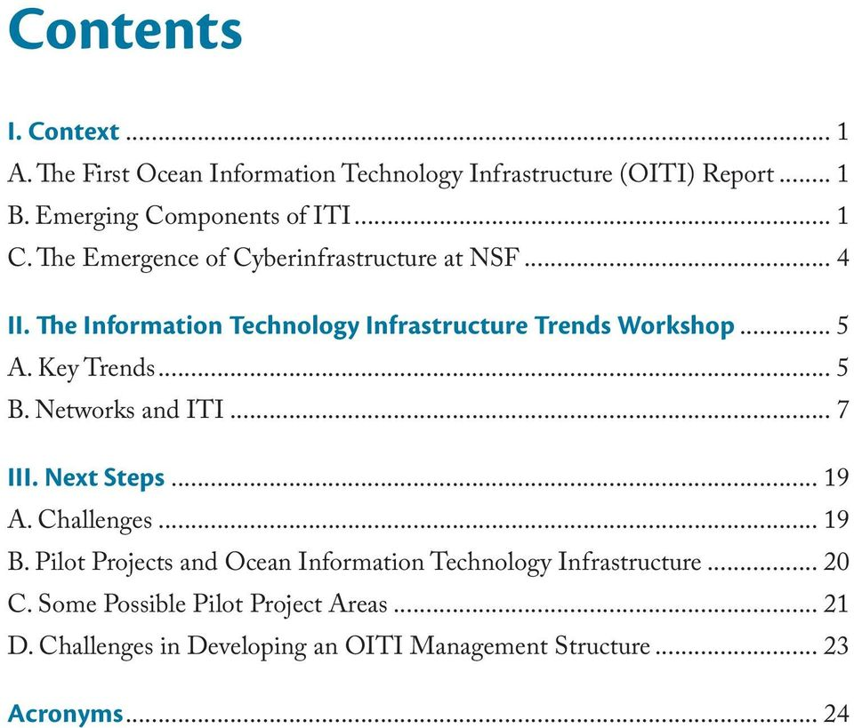Key Trends... 5 B. Networks and ITI... 7 III. Next Steps... 19 A. Challenges... 19 B.