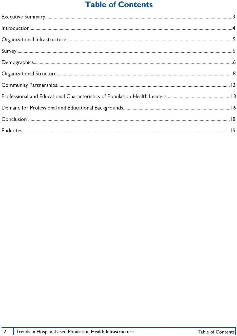 ..12 Professional and Educational Characteristics of Population Health Leaders.