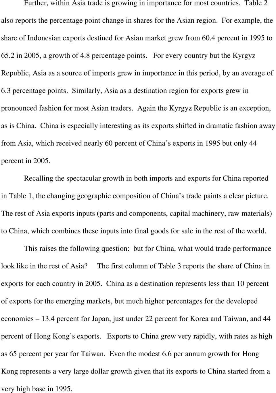 For every country but the Kyrgyz Republic, Asia as a source of imports grew in importance in this period, by an average of 6.3 percentage points.
