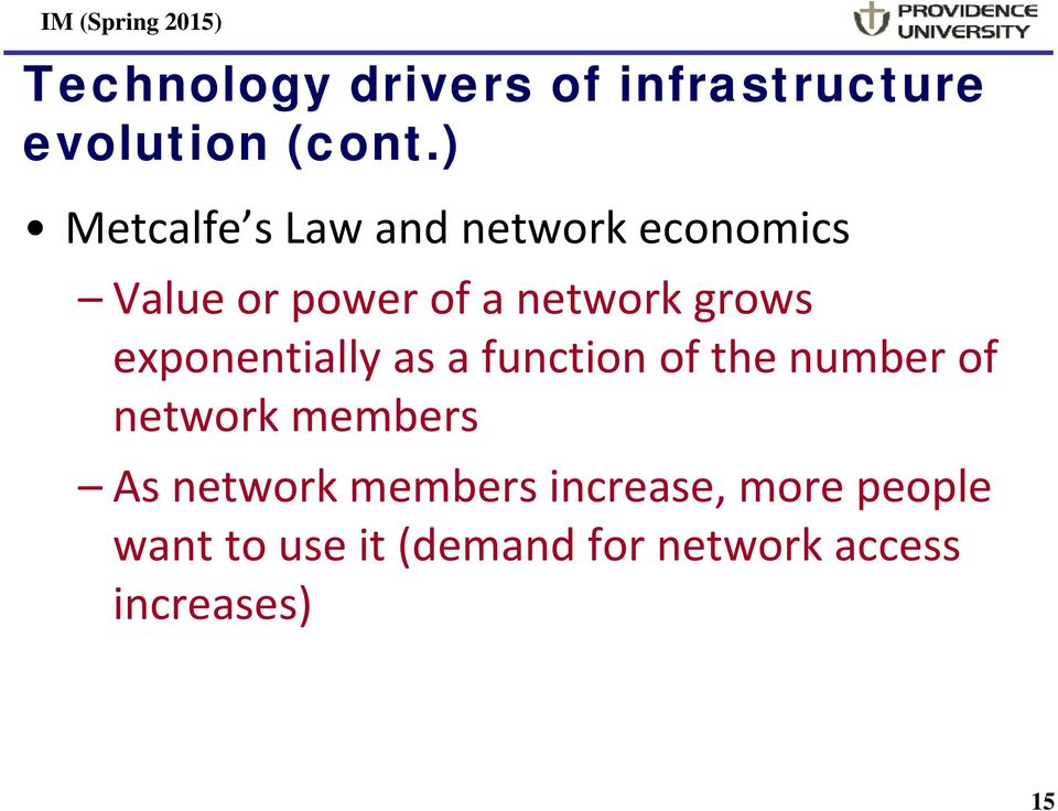grows exponentially as a function of the number of network members As