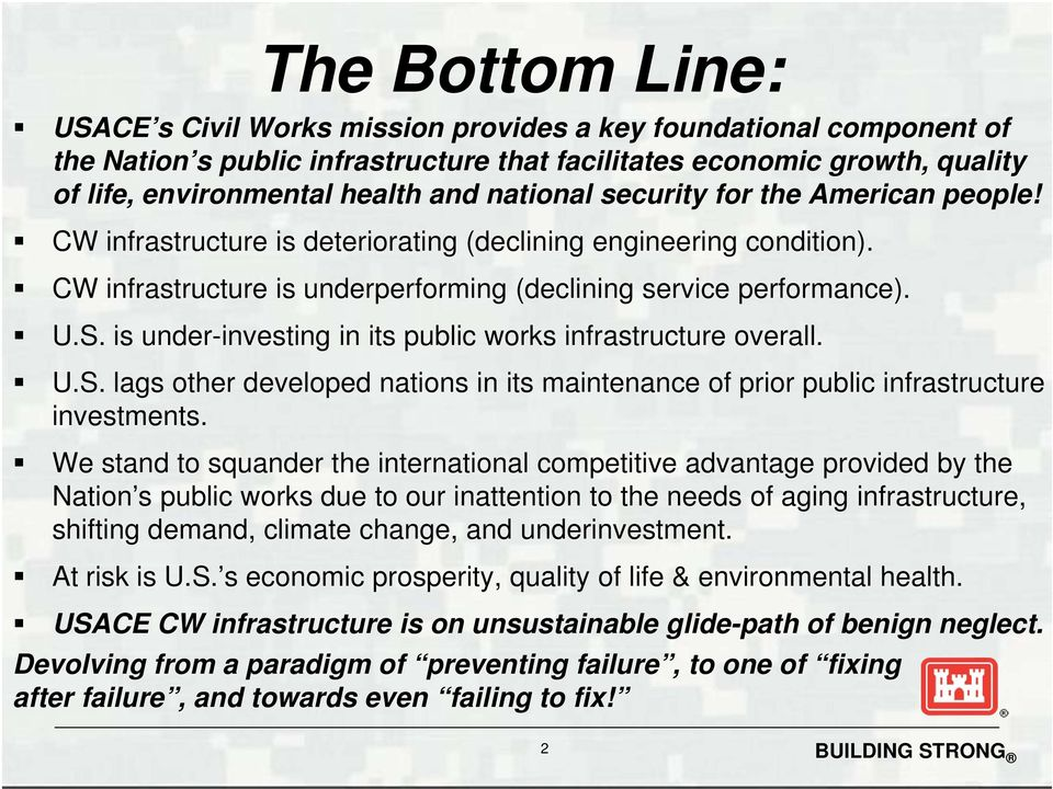 is under-investing in its public works infrastructure overall. U.S. lags other developed nations in its maintenance of prior public infrastructure investments.