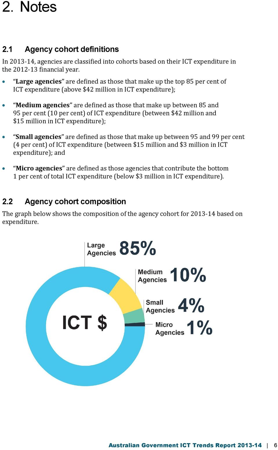 cent (10 per cent) of ICT expenditure (between $42 million and $15 million in ICT expenditure); Small agencies are defined as those that make up between 95 and 99 per cent (4 per cent) of ICT