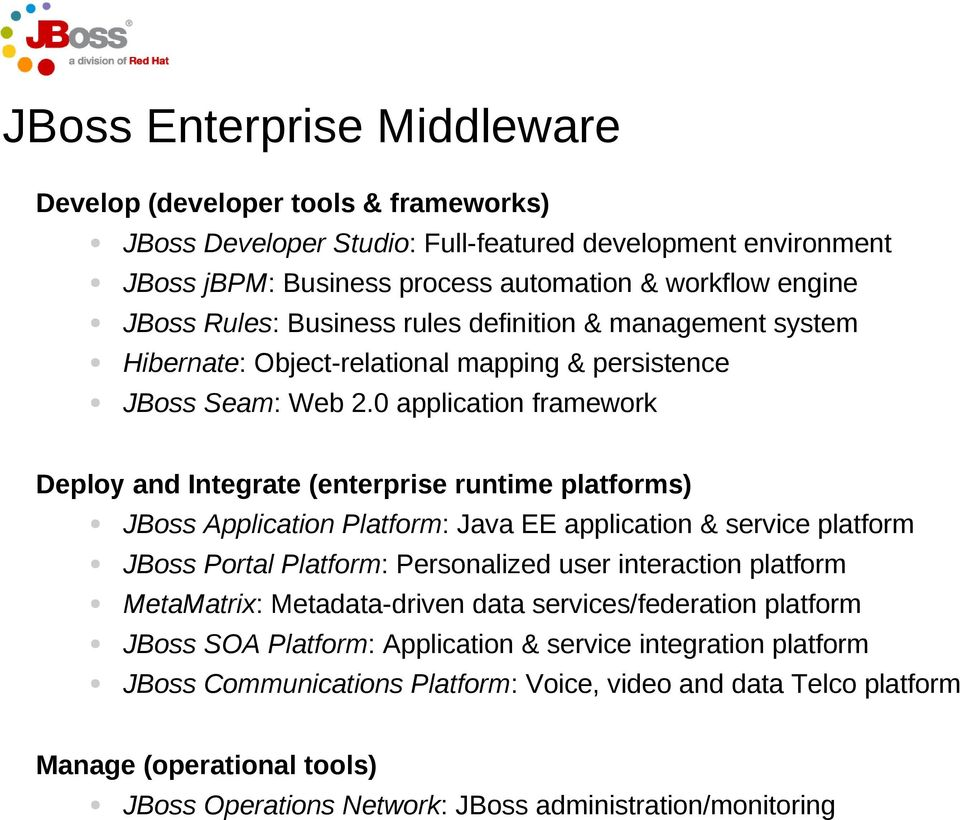 0 application framework Deploy and Integrate (enterprise runtime platforms) JBoss Application Platform: Java EE application & service platform JBoss Portal Platform: Personalized user interaction