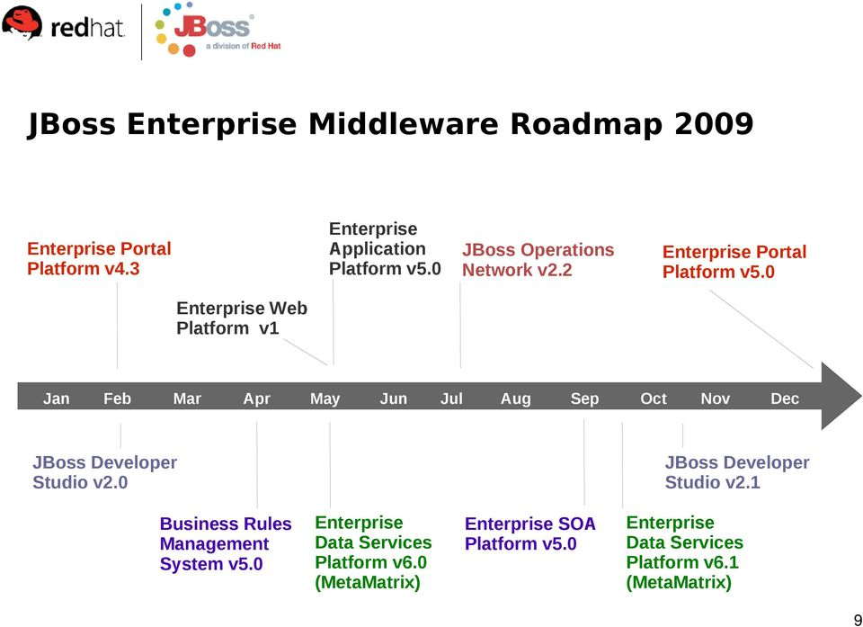 0 Enterprise Web Platform v1 Jan Feb Mar Apr May Jun Jul Aug Sep Oct Nov Dec JBoss Developer Studio v2.