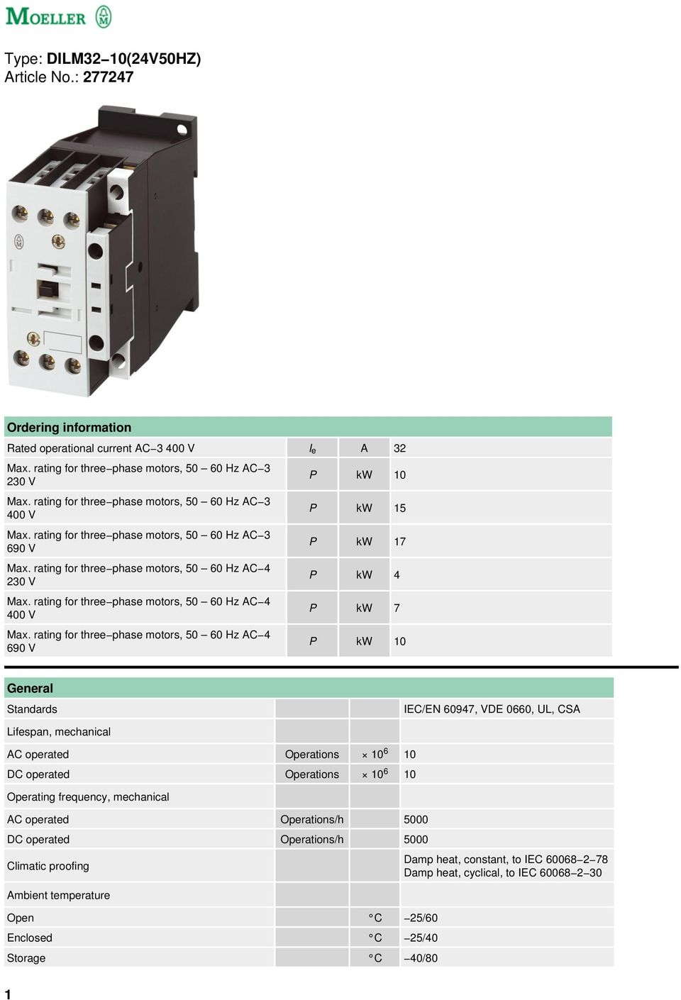 rating for three phase motors, 50 60 Hz AC 4 400 V Max.