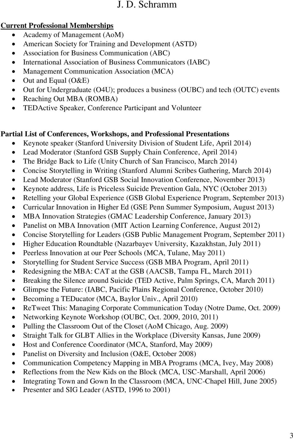Speaker, Conference Participant and Volunteer Partial List of Conferences, Workshops, and Professional Presentations Keynote speaker (Stanford University Division of Student Life, April 2014) Lead