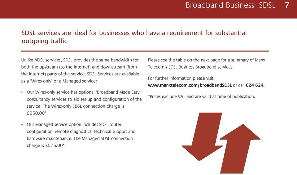SDSL Services are available as a 'Wires-only or a Managed service: Our Wires-only service has optional Broadband Made Easy consultancy services to aid set-up and configuration of the service.
