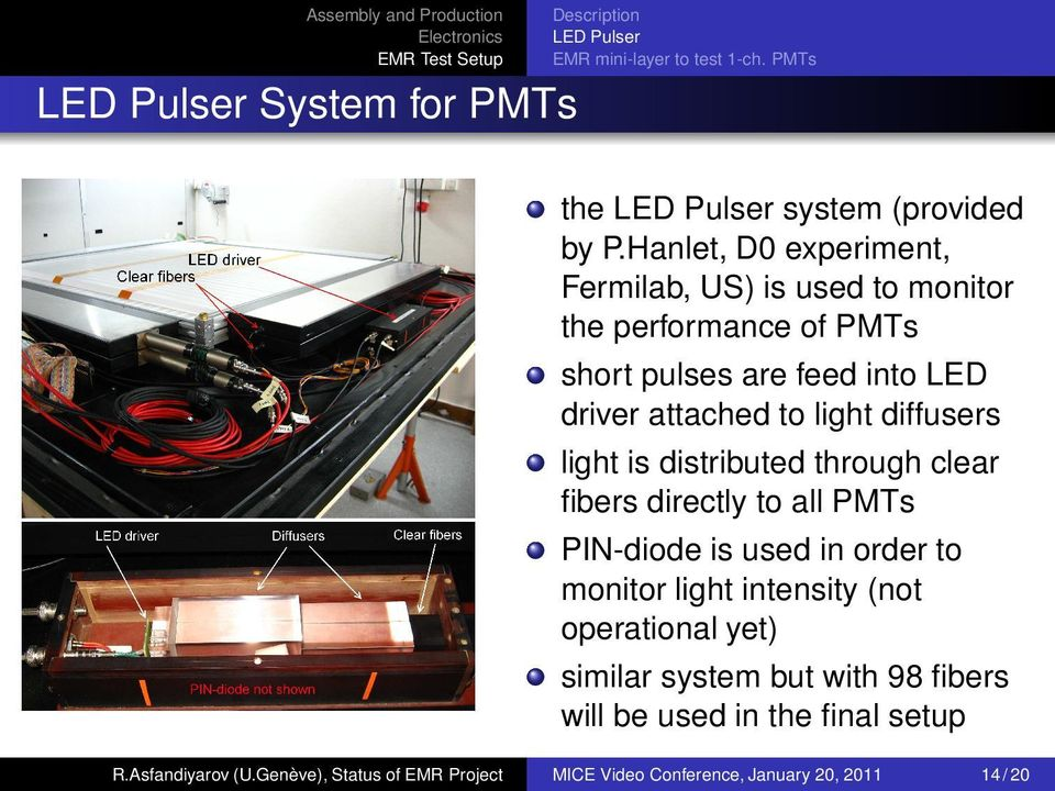 diffusers light is distributed through clear fibers directly to all PMTs PIN-diode is used in order to monitor light intensity (not