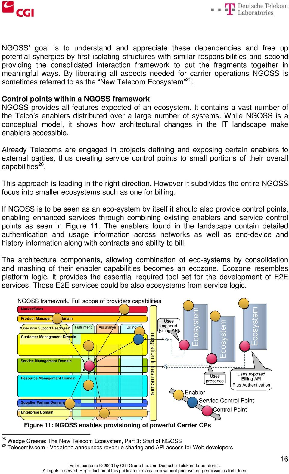Control points within a NGOSS framework NGOSS provides all features expected of an ecosystem. It contains a vast number of the Telco s enablers distributed over a large number of systems.