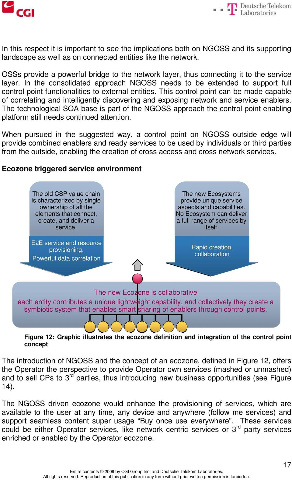 In the consolidated approach NGOSS needs to be extended to support full control point functionalities to external entities.