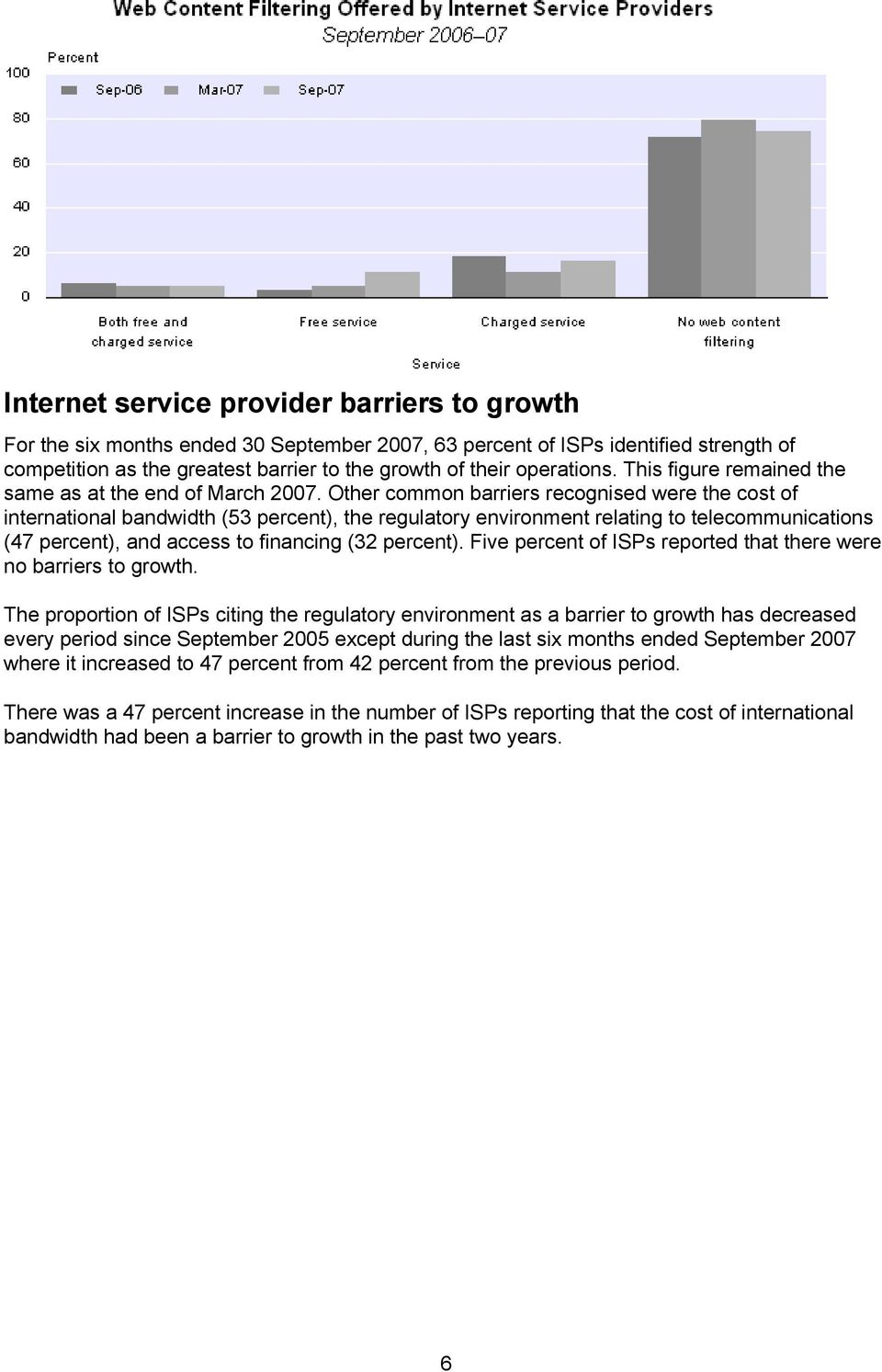 Other common barriers recognised were the cost of international bandwidth (53 percent), the regulatory environment relating to telecommunications (47 percent), and access to financing (32 percent).