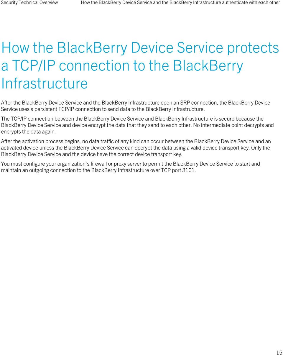 The TCP/IP connection between the BlackBerry Device Service and BlackBerry Infrastructure is secure because the BlackBerry Device Service and device encrypt the data that they send to each other.