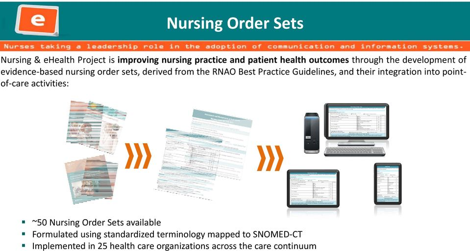 Guidelines, and their integration into pointof care activities: ~50 Nursing Order Sets available Formulated