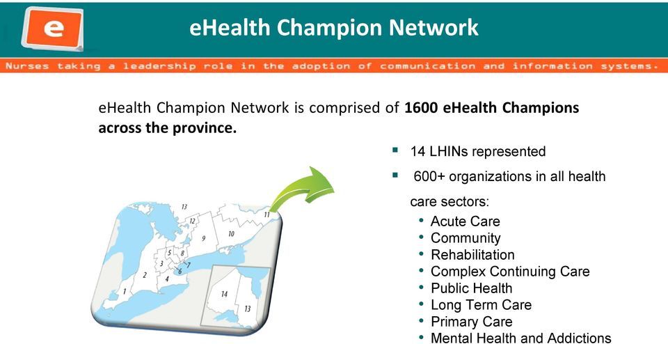 14 LHINs represented 600+ organizations in all health care sectors: Acute